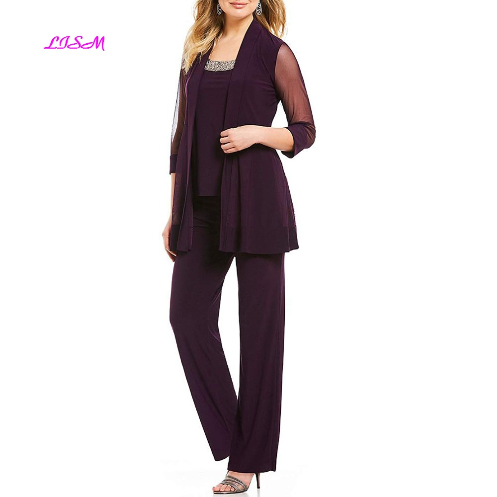 Chiffon Mother Of The Bride Dress 3 Piece Long Formal Pants Suit Elegant Evening Formal Gowns