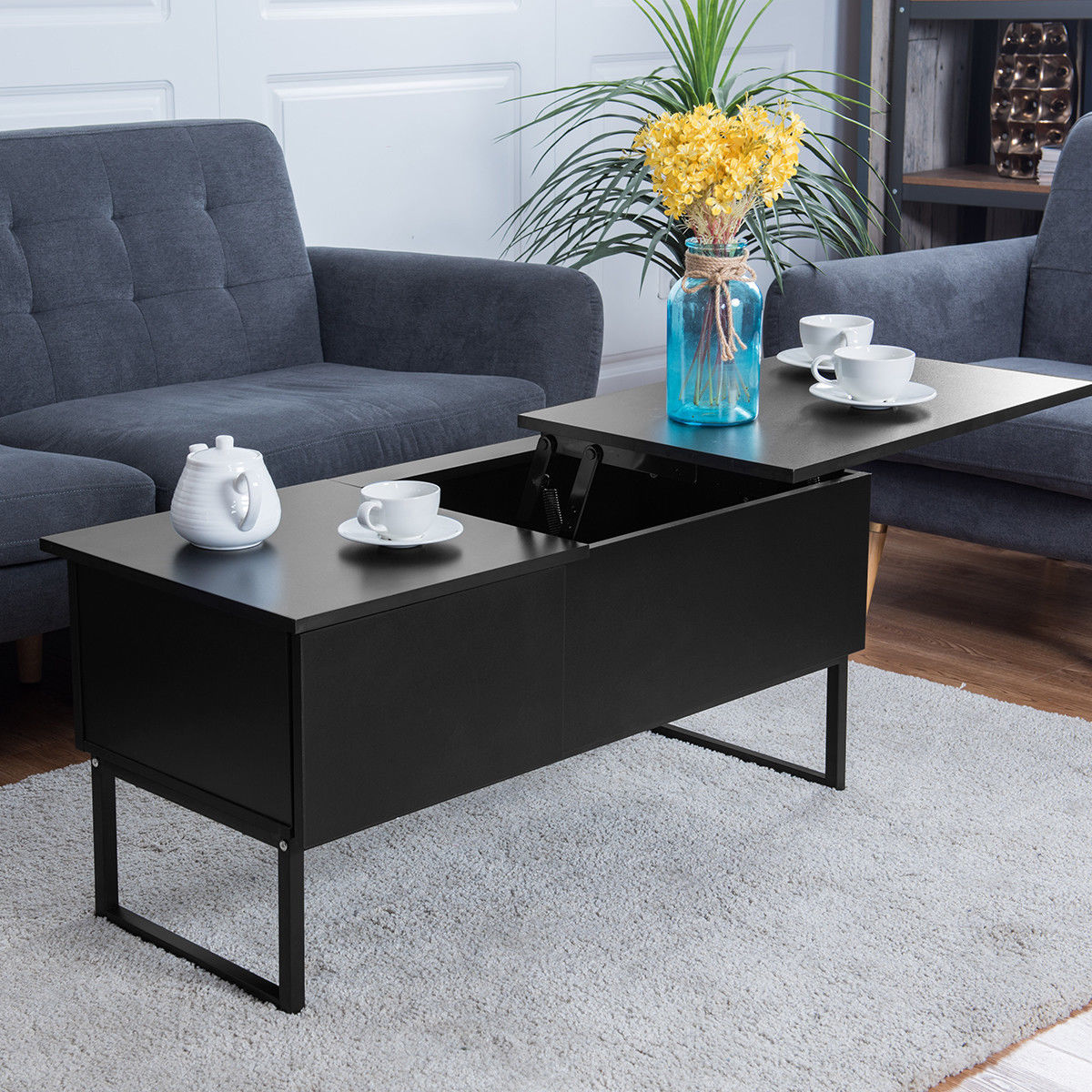 Modern Coffee Table With Storage Us 94 99 Giantex Modern Coffee Table Lift Top Home Living Room Wood Storage Furniture Hidden Space Side Tables Hw56626bk In Coffee Tables From