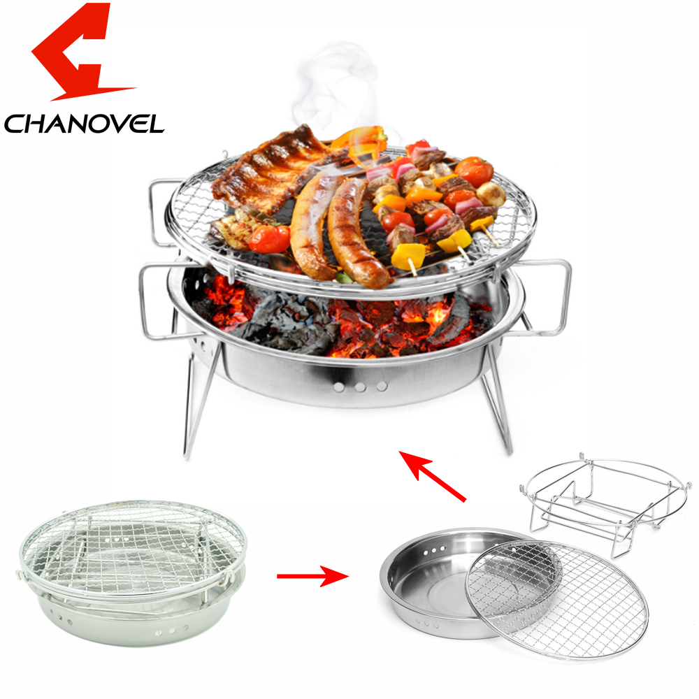 CHANOVEL Portable Folding Stainless Steel BBQ Grill Outdoor Garden Charcoal Barbecue Stove Camping Travel Cooking For Home Park