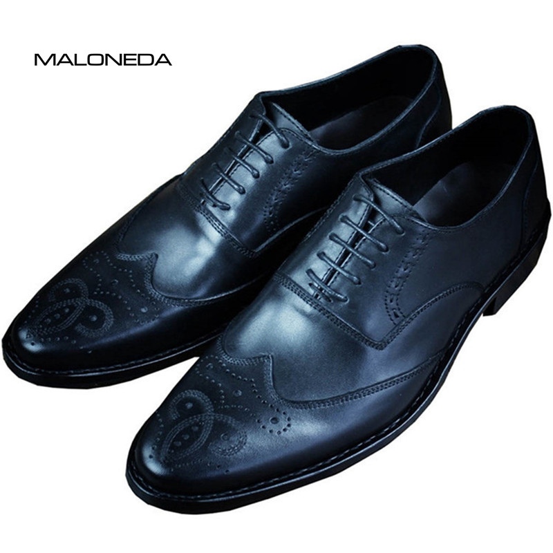 MALONED Bespoke Goodyear Welted Brogue Shoes Men Handmade Genuine Leather Oxford Formal Dress Shoes For Evening Party Footwear vikeduo style semi brogue oxford shoes men welted brown color black sole handmade mens wedding dress shoes footwear casual