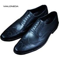 MALONEDA заказ Goodyear Welted Обувь с перфорацией типа «броги» Для мужчин ручной работы из натуральной кожи оксфорды Представительская обувь для Веч