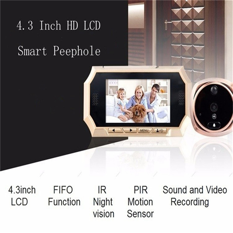 New 4.3 inch Digital Doorbell LCD Color Screen Door Peephole Viewer Camera Photo/Video Recording Door Camera IR Motion Detection