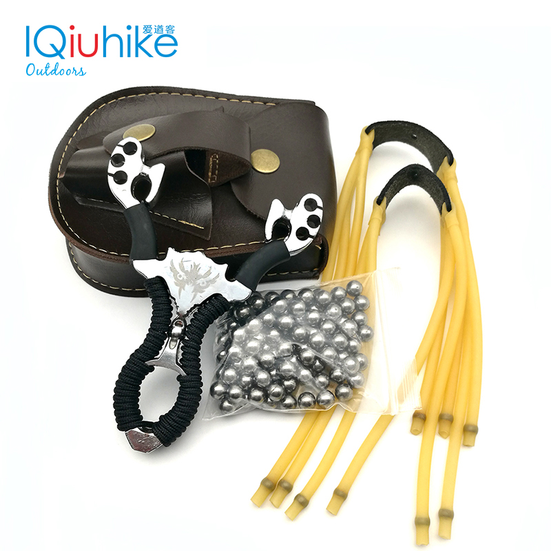 IQiuhike Slingshot+100pcs 8mm Steel Balls+2 Rubber Bands+Slingshot Balls Pouch Bag Slingshot Set Powerful Hunting Bow Hunting