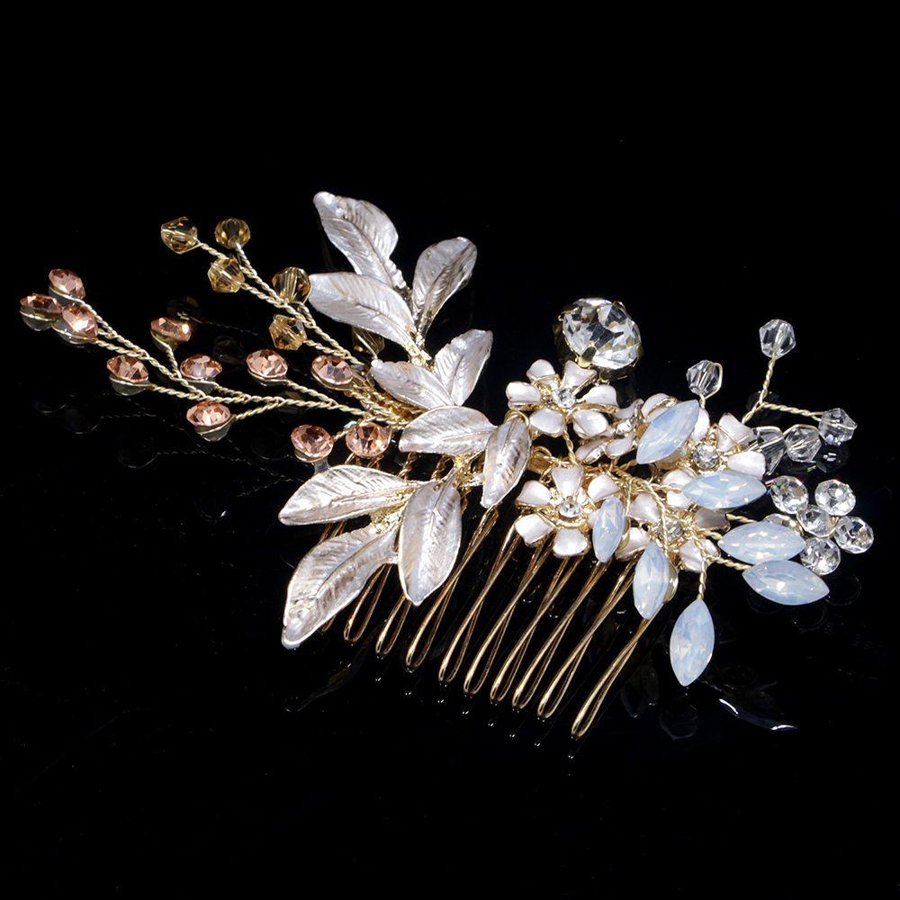 1PC Silver Pearl Rhinestones Wedding Hair Comb For Women Crystal Hair Handmade Bride Headdress Comb Hair Accessories