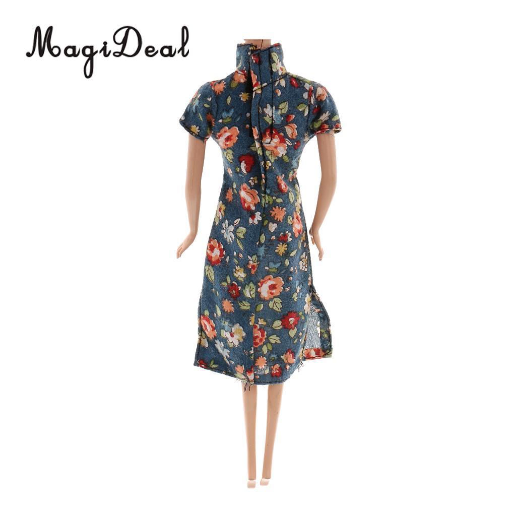 MagiDeal традиционные 1 шт. китайский платье Чонсам Одежда для куклы ежедневно носить Танцы показать образ жизни костюм Длина 18 см Acc
