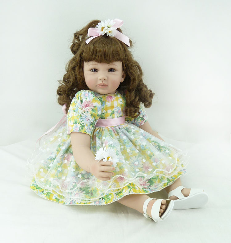 Pursue 24/60 cm Beautiful Curly Hair Reborn Silicone Toddler Princess Baby Girl Doll Toys Cotton Body Lifelike Baby Doll Toys pursue 24 60 cm adorable lifelike baby alive silicone reborn toddler baby girl doll pink princess girl doll toys for girl gifts