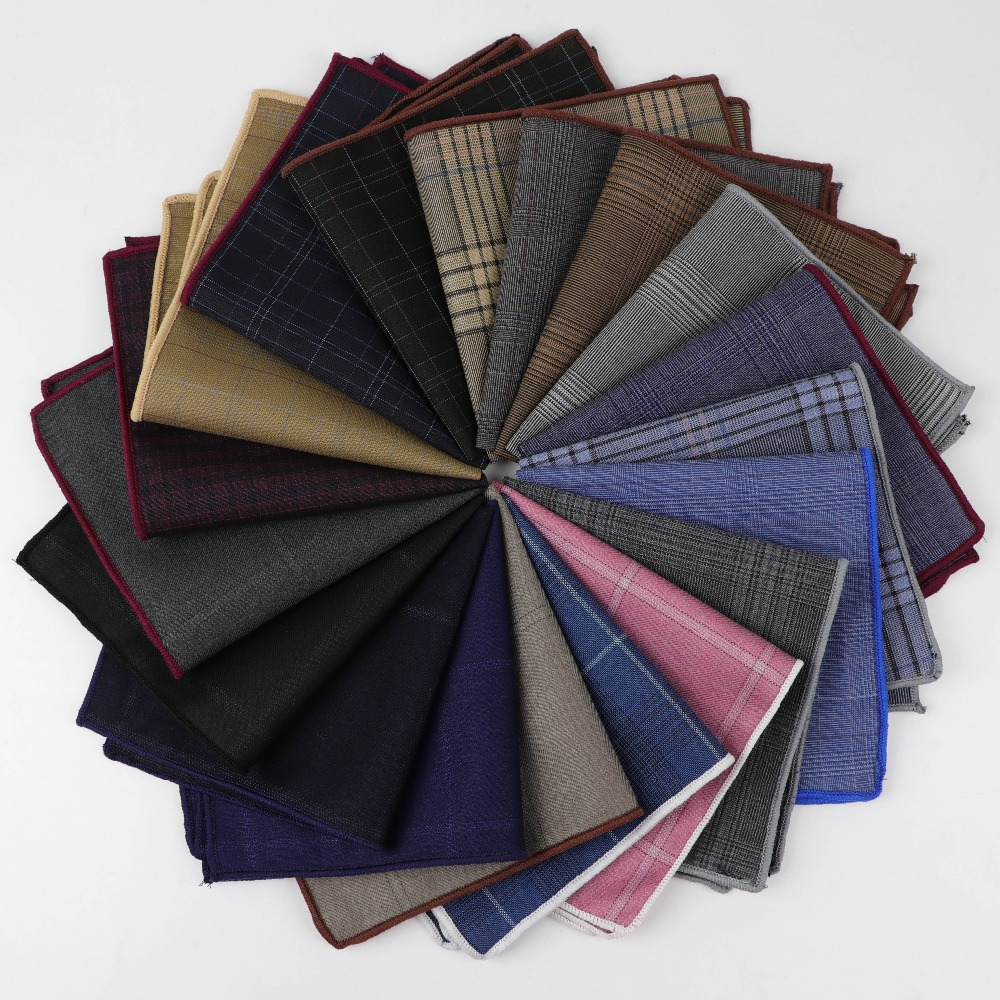 Striped Square Pocket for Men Paisley Pattern Cotton Hankerchief Colorful Solid Color Gentlemen Wedding Designer Pocket Square(China)