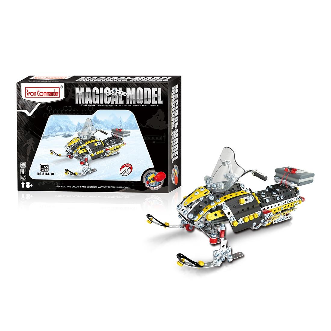 Blocs de Construction d'assemblage en métal de forme de motoneige bricolage Kits d'ingénierie de Construction de jouet de tige de vapeur