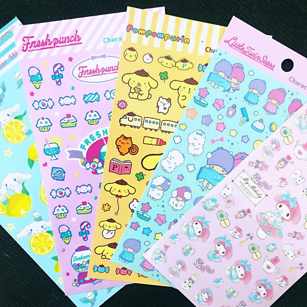 1 Sheet Kawaii Melody Twin Star Dog Adhensive Stickers DIY Stick Label PVC Phone Hand Account Decor Sticker Stationery Kids Gift