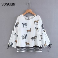 VOGUEIN New Womens Dogs Animal Print Ruffled Detail Long Sleeve Pullover Blouse Tops Shirt Wholesale