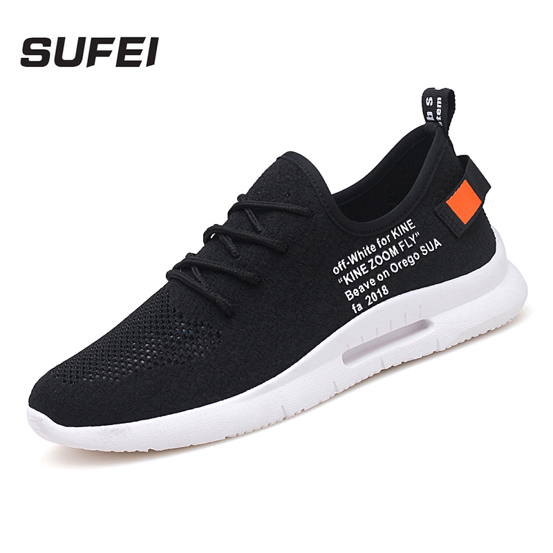 sufei Men Breathable Running Shoes Court Lace Up Outdoor Sneakers Plus Size Cushioning Sport Shoes Comfortable Footwear dr eagle mens running shoes for outdoor comfortable red black fly for men sneakers air cushioning sport shoes woman size 35 44