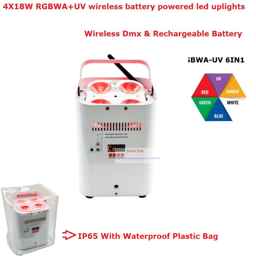 With IR Remote 4X18W RGBWA UV 6IN1 Battery Wireless Led Par Light High Power 80W LED Lights For Professional Lighting Equipments in Stage Lighting Effect from Lights Lighting