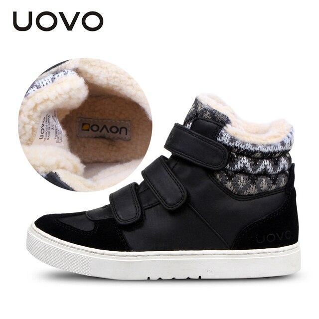 UOVO Зимние Детская Обувь Теплые Искусственного Меха Мальчики Обувь Девочек Обувь Среднего Вырезать Обувь для Детей