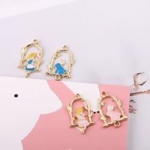 10pcs Enamel Alice Rabbit In wonderland flower Girls Charms Connectors Alloy Bracelet Pendant Korean Jewelry Accessories YZ034