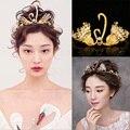 Platão amor retro ouro duplo swan jogar pérolas faixa de cabelo nupcial acessórios do casamento Barroco coroa cocar