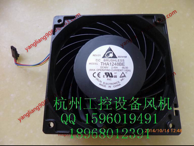 Free Shipping For DELTA THA1248BE, -BL50 DC 48V 2.49A, 120x120x38mm 50mm, 4-wire 4-pin connector Server Square Cooling Fan free shipping for delta pfb0848dhe ck2a dc 48v 1 00a 80x80x38mm 4 wire server square cooling fan
