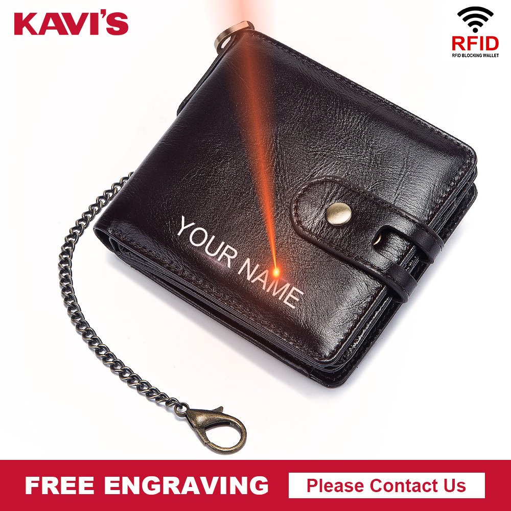 KAVIS RFID Free Engraving Genuine Wallet Men With Coin Pocket Short Wallets Small Zipper Walet with card holders Coffee for Male