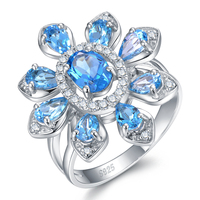 Tenderness Hot Sale Luxury 3 5ct Natural Blue Topaz Sterling Silver Flower Ring