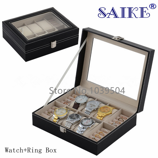 6 Grids Watch Boxes And Ring Boxes Black Leather Material Top Box With Window Top Quanlity Watch Storage Watch Gift Box B026 standard 10 grids watch box black leather watch display box top quanlity storage watch boxes storage jewelry packing box d208