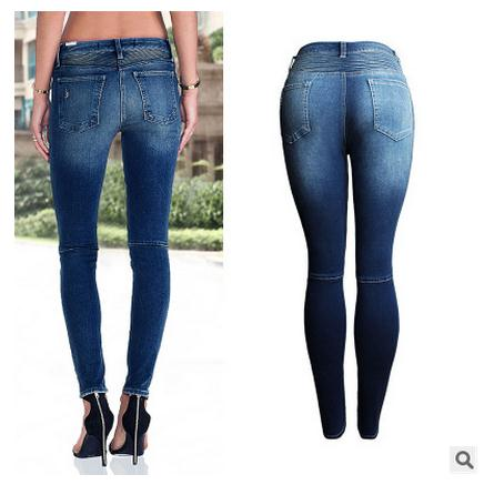 Womens Hole Slim Jeans Trousers Skinny Large Size Hole Jeans Pants Full Length Pencil Pants S/3Xl Sexy Cowboy Denim Trousers B7