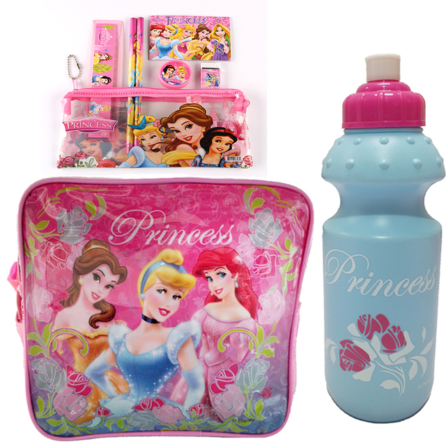Принцесса Мультфильм дети набор обед мешок охладителя тепловой сумка изолированные обед box сумка для детей мальчиков с коробкой и бутылку обратно в школу