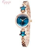 KIMIO Luxury Women S Quartz Watches Clock Simple Blue Dial Ladies Bracelet Wristwatches Rose Gold Dress