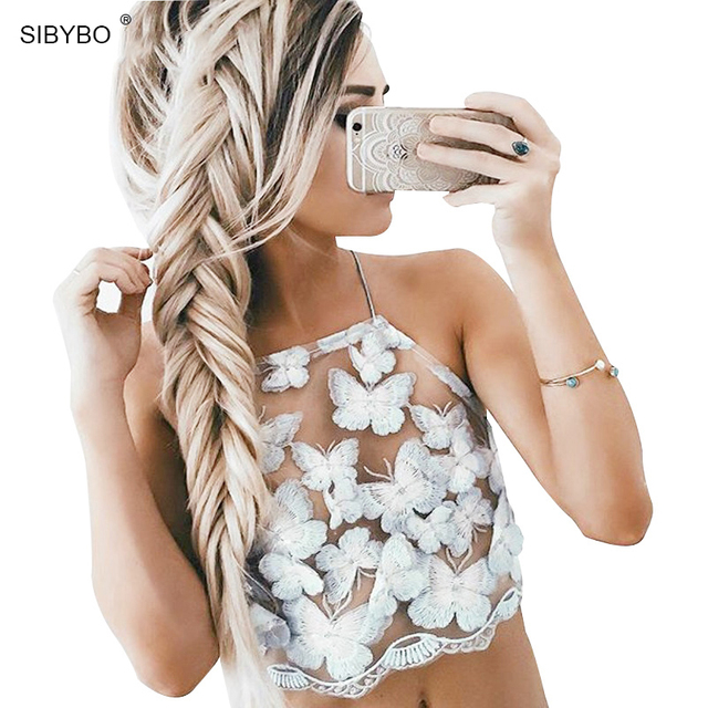 Estilo Elegante de La Mariposa Azul de Encaje Bordado verano CropTop Girls Backless Sexy Chic Mujeres Ahueca Hacia Fuera Tapas Del Tanque de Camis