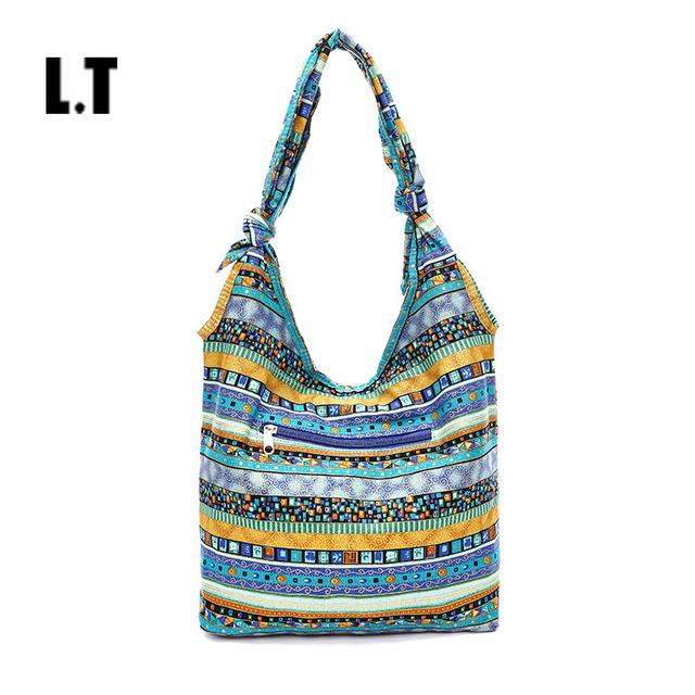 2017 Mujeres Tailandia Patrones Slouch Bolsa Azul Azteca Tribal Gypsy Boho Hippie Bohemio de Gran Tamaño Grande Hobo Sling Crossbody Bag