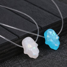 Blue White Opal Hamsa Custom Necklace Hand Fatima Pendant Necklace Women Transparent Chain Choker Jewelry Collier 2019 Fashion(China)