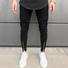 2020 Mới Nam Rách Lỗ Quần Jean Khóa Kéo Skinny Biker Jean Đen Quần Jean Trắng Xếp Ly Miếng Dán Cường Lực Mỏng Phù Hợp Với Hip Hop quần Jeans Nam Quần