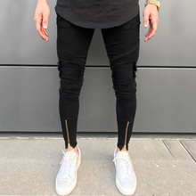 2020 New Men Ripped holes jeans Zip skinny biker jeans black white jeans with Pleated patchwork slim fit hip hop jeans men pants