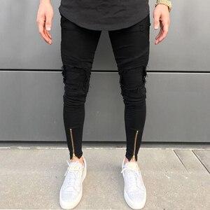 Image 1 - 2020 Nieuwe Mannen Ripped Gaten Jeans Zip Skinny Biker Jeans Zwart Wit Jeans Met Geplooide Patchwork Slim Fit Hip Hop jeans Mannen Broek