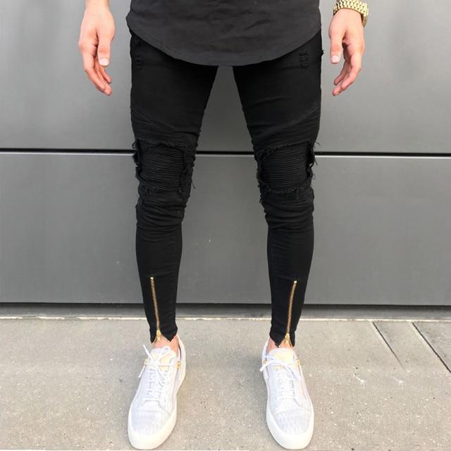 2020 Nieuwe Mannen Ripped Gaten Jeans Zip Skinny Biker Jeans Zwart Wit Jeans Met Geplooide Patchwork Slim Fit Hip Hop jeans Mannen Broek