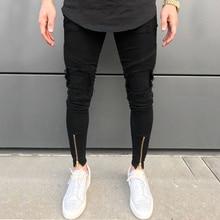 2020 nouveaux hommes déchiré trous jean fermeture éclair slim biker jean noir blanc jean avec plissé patchwork slim fit hip hop jean hommes pantalon