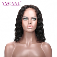 YVONNE Deep Wave Short BOB Lace Front Wigs Virgin Brazilian Hair Wigs 180% Density With Baby Hair Natural Color Free Shipping