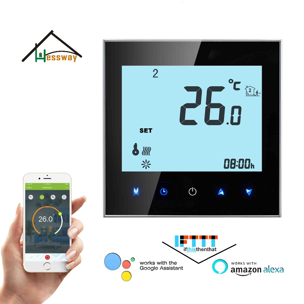 24VAC,95-240VAC 3A Weekly Programmable LCD Touch Screen Wifi Thermostat Water Floor Heating For NC,NO