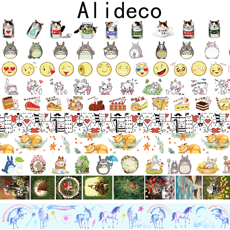 Alideco  Washi Masking Tapes Animals Cat Cake Decorative Adhesive Scrapbooking DIY Paper Japanese Stickers Size 1.5cm*10m