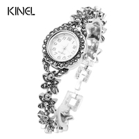 Exquisite Floral Crystal Bracelets For Women Silver Plated Decorative Watch For Women Retro Look Turkey Jewelry