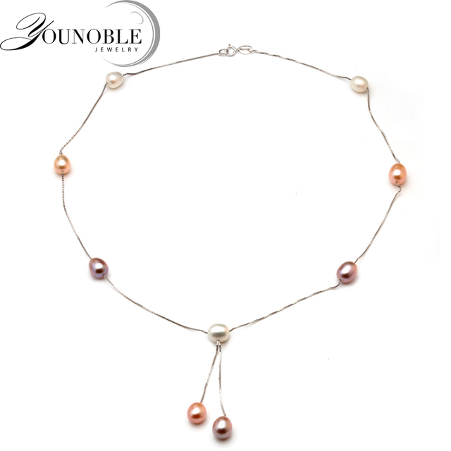 Beautiful 925 sterling silver chain necklace with pearl,wedding women simple tas
