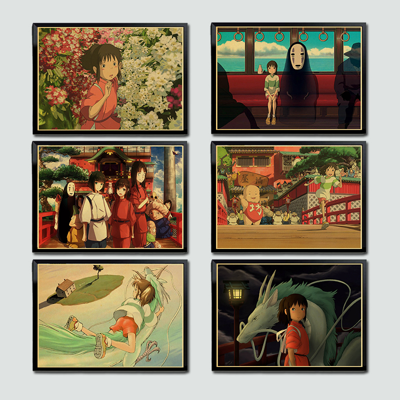 Miyazaki Hayao Classic Movie Spirited away Retro Poster Kraft Paper Wall Painitng Art Prints Vintage Wall Picture Home Room Art image