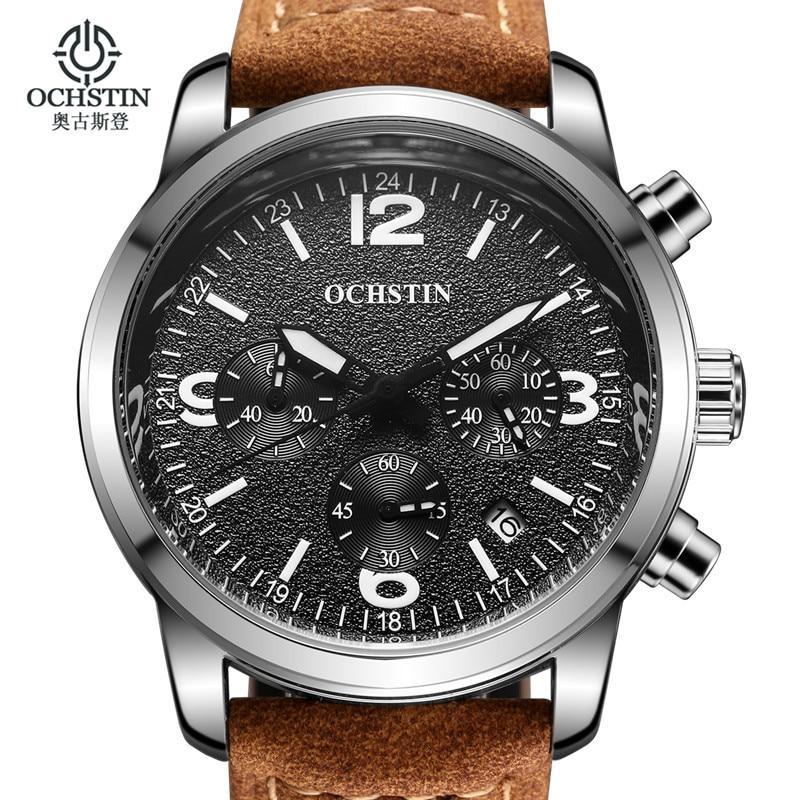 Prix pour Mens montres haut marque de luxe ochstin sport montres hommes de mode horloge Robe Hommes de Quartz Montre Homme Heures 2017 Erkek Kol Saati