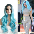 Free shipping 70cm Long Synthetic High temp synthetic fiber Water blue gradient Wavy Cosplay Wig Victoria With style Full wig