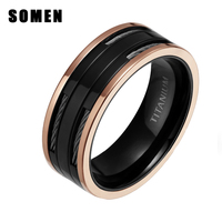 8MM High Polish Black Titanium Ring Men Wedding Engagement Band With Stainless Steel Cables Male Fashion