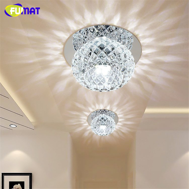 FUMAT Round Crystal Ceiling Lamp 5W Crystal Light For Aisle Porch Corridor Stairs With LED 100% Guarantee Lustre Crystal Lights