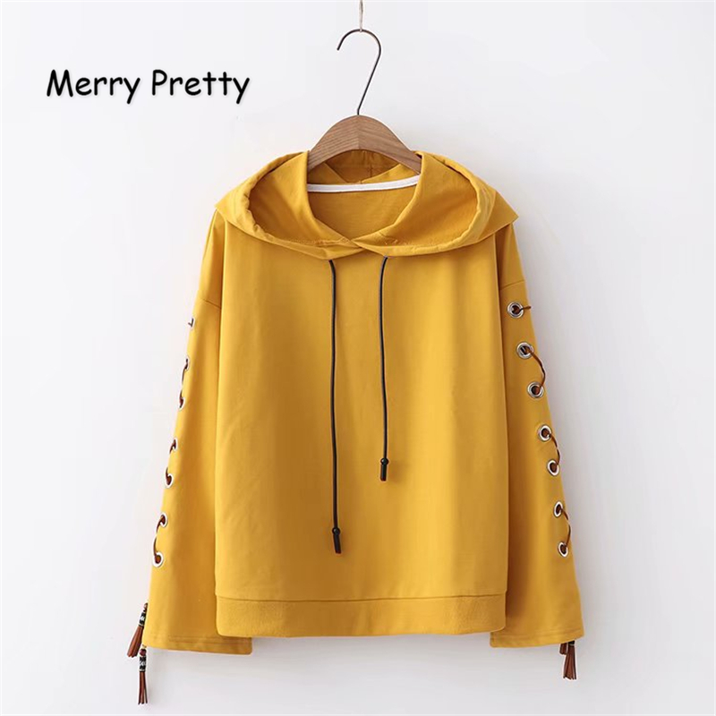 MERRY PRETTY Women Solid Color Hooded Sweatshirts 2018 Winter Long Sleeve Drawstring Pullovers Tracksuits Femme Lace Up Hoodies