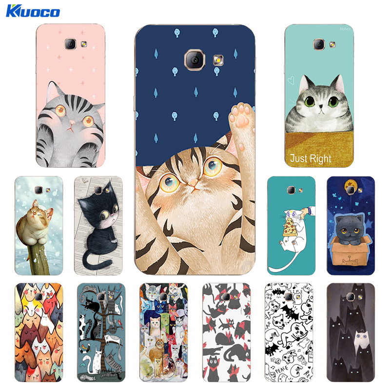 For Samsung Galaxy A8 2016 Shell for J5 2015 / 2016 / 2017 Case for J500 / J510 / J530 Cover Soft TPU Cats Family Printing Coque image