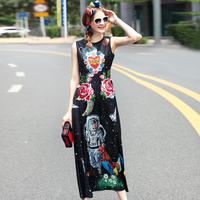 2017 Summer Runway Maxi Dress Women High Quality Fashion Sleeveless Vintage Print Handmade Beading Party Long