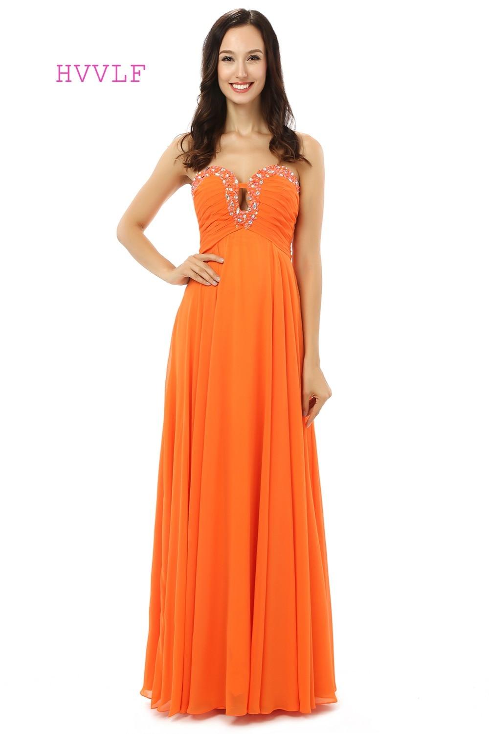 Robe De soirée Orange 2019 a-ligne chérie en mousseline De soie perles cristaux formelle femmes longues robes De bal Robe De bal Robe De soirée
