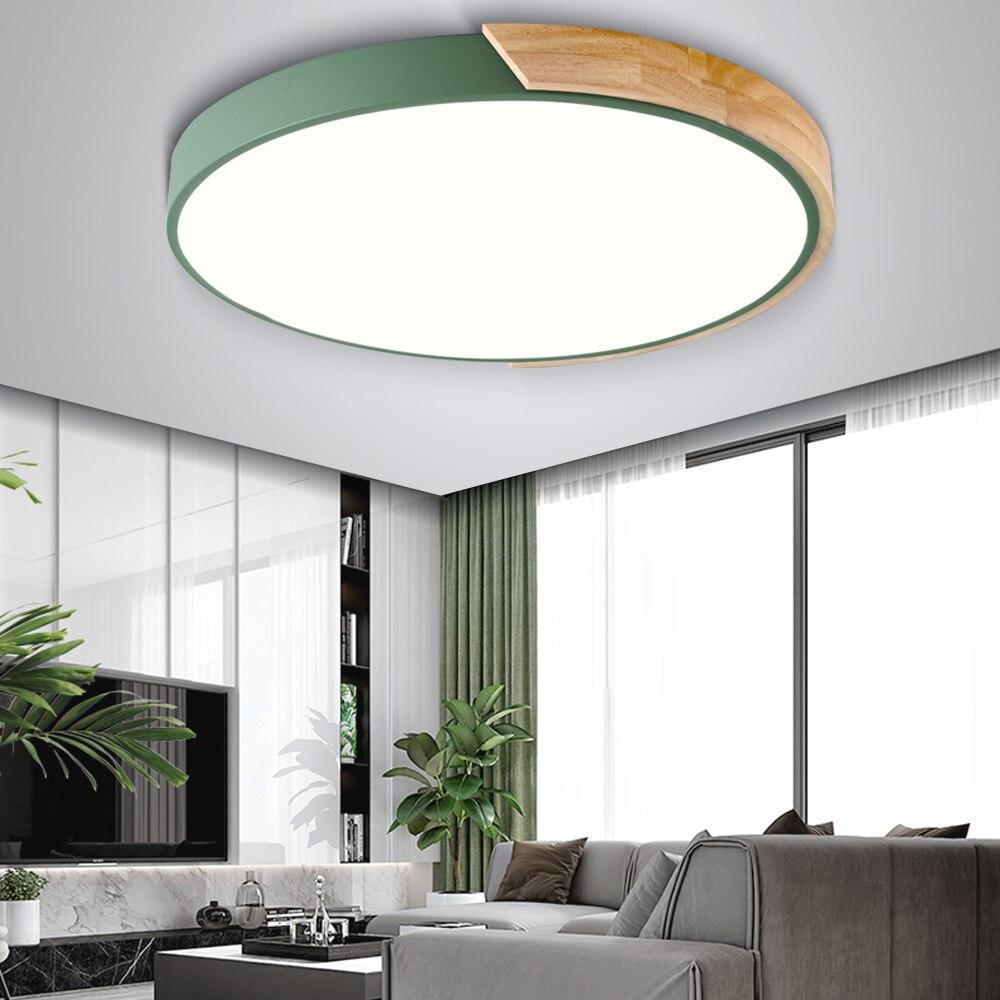 Nordic Holz Led-deckenleuchten Moderne Bunte Schlafzimmer Decke Lampen  Runde dünne plafondlamp Beleuchtung lamparas de techo 30 cm 40 cm | Spargut