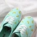 Envío libre 2015 mujeres del resorte menta verde pequeño lona de la boca baja mujeres pintado a mano zapatos casuales plana